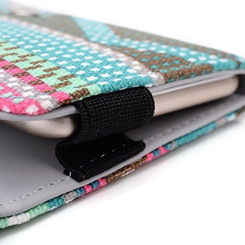 Kroo Téléphone portable Dragonne de transport étui avec porte-cartes compatible avec pour Wiko Highway/arc-en-ciel/Getaway Multicolore - bleu Multicolore - vert