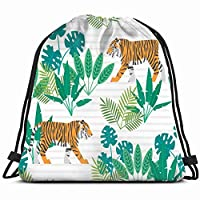 Colin-Design Seamless Pattern Tigers Tropical Plants Animals Wildlife Tiger Drawstring Backpack Small Hiking Bag Gym Backpack Lightweight Backpack Fashion Dance Bag Hiking Bag