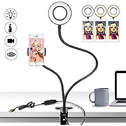 Buluri Anello Luminoso Selfie, Lampada Selfie con Supporto per Cellulare, 3 Modalità LED Ring Light per Live Stream, Youtube, Facebook, Samsung, iPhone 8 / iPhone x