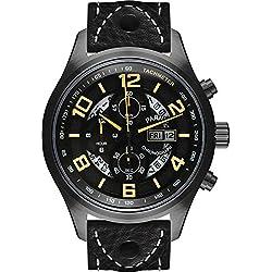 PARNIS Herren Fliegeruhr 3241 PVD schwarz Saphirglas Chronograph Datumsanzeige 10BAR massiv Edelstahl Ø43mm Miyota Quarz Stoppuhr