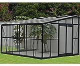 PEGANE Serre Grise Jardin d'hiver 12m² adossable avec Base, 375 x 316 x 250 cm