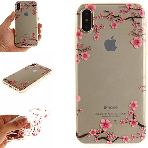 Ooboom® iPhone X Coque Housse Transparent TPU Silicone Gel Étui Cover Case Ultra Mince Slim pour iPhone X - Tournesol Noir Fleurs de Prunier
