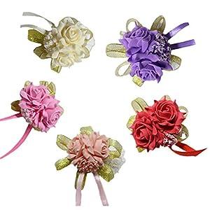 Da.Wa 5 pulseras para dama de honor de novia, ramo de boda, decoración de flores