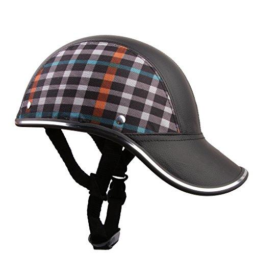 PU Kunst Leder Motorrad Helm Hut Mütze Motocross Half Open Face Visor - - Leder-motorrad-mütze