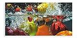 Artland Qualitätsbilder I Glasbilder Deko Glas Bilder Größe 60x30 cm Genuss Obst Foto Bunt D1GJ Spritzendes Obst auf dem Wasser