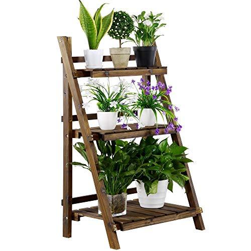 Yaheetech Blumenregal Pflanzentreppe 3 Stufen Blumentreppe Holz klappbar Blumenleiter Pflanzleiter für Innen Wohnzimmer Balkon 60 x 38 x 93 cm Dunkelbraun