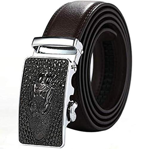 ES-AP Cow Leather Belt For Men, Business Pants Automatic Buckle Belt, Adjustable Strap For Ratchet Cowhide Length 48 Inches Brown