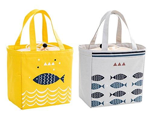 Isuperb 2 pezzi borsa termica pranzo impermeabile borsa porta pranzo grande borsa frigo pranzo ufficio lunch bag per adulti e bambini 20×20×13 cm (giallo e grigio chiaro)