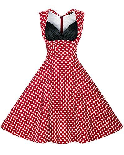 Minetom Damen Vintage 50er Kleid Retro Audrey Hepburn Tupfen Schwingen Pinup Polka Dots Rockabilly Kleid Blumen Kleider Rot Polka Dot DE (Polka Dot Brille)