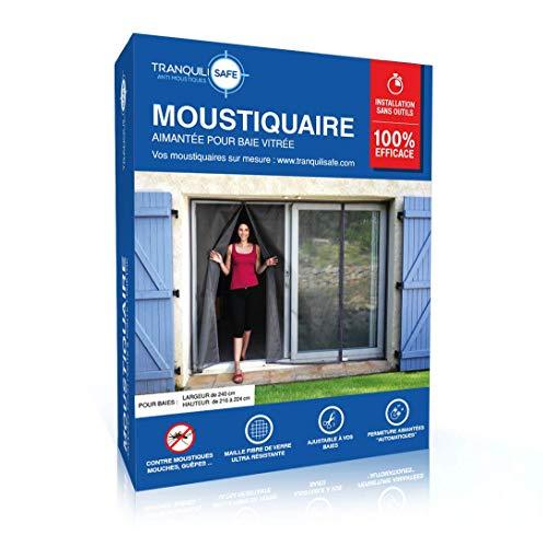 Moustiquaire ajustable aimantée TRANQUILISAFE® pour baie vitrée avec 2 ouvertures aimantées - moustiquaire magnétique - moustiquaire automatique - protection anti moustique (L 240 - H 216/224)