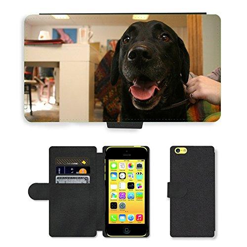 Just Mobile pour Hot Style Téléphone portable étui portefeuille en cuir PU avec fente pour carte//m00138827pour chien Pet Animal Chien Labrador Noir//Apple iPhone 5C