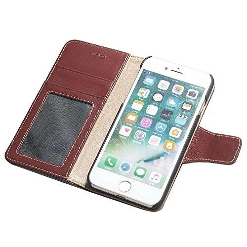 EKINHUI Case Cover Luxus Echtes Leder Tasche Geldbörse Horizontale Flip Folio Stand Case Cover mit magnetischen Wölbung & Card Slots Für IPhone 7 ( Color : Wine ) Wine