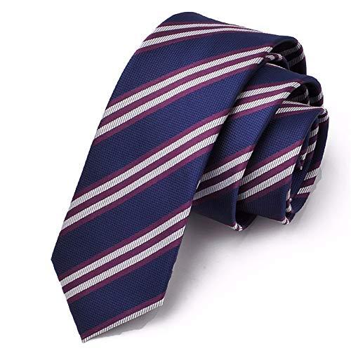 WUNDEPYTIE Krawatte Männer Casual Koreanische Version 6Cm Neutral Professionelle Rote Krawatte Mit Schmaler Britischer Version, Blauer Streifen - Britische Streifen-krawatte