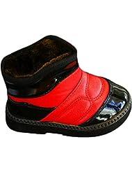 hibote niños Buckle Botas de nieve caliente grueso PU impermeable invierno de la piel Botas Rojo + Negro 25