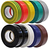 10 Mixed Multi Colour PVC Electrical Insulation Tape 20M Professional British Standard