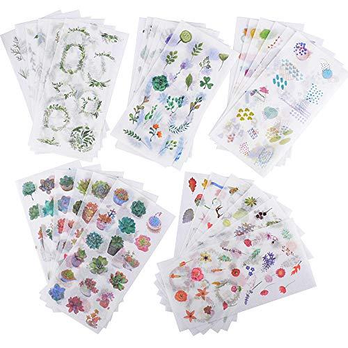 30 Blatt Scrapbooking Aufkleber in verschiedene Muster blumen Sticker Grünpflanzen Pflanzen für Tagebuch Scrapbook Kalender Notizbuch Fotoalbum DIY Dekoration