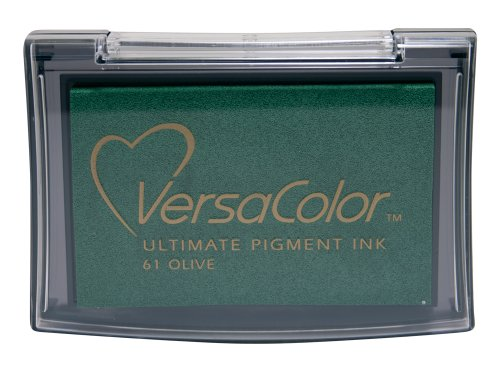 Tsukineko Versacolor Stempelkissen, Olivgrün, Synthetic Material, Gruen, 9.9 x 6.6 x 1.8 cm -