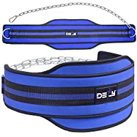 "DEFY Premium Double Padded Neoprene Dip Belt with 32"" Heavy Duty Steel Chain for Power Lifting, Bodybuilding, Strength & Training-Double Stitched Universal blue"