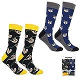 ECOMBOS Herren Socken Bunt - Baumwolle Socken Herren, Gemusterte Socken Muster Lustige Socken, Modische Socken Mehrfarbig Klassisch Baumwolle 38-45 - Fuchs