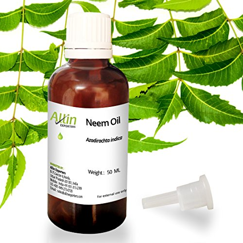 Allin Exporters Neem Oil 50 ML - Wild Crafted Pure Cold Pressed Unrefined - 100% Pure , Natural & Undiluted for Skincare, Hair Care, and Natural Bug Repellent