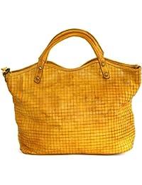 e8437ac2441d9 BZNA Bag Lotta gelb Italy Designer Damen Ledertasche Handtasche  Schultertasche Tasche Leder Beutel Neu
