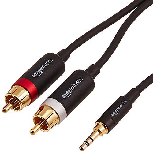 AmazonBasics PBH-19823 Cinch-Audiokabel, 3,5-mm-Klinkenstecker auf 2 x Cinch-Stecker, 4,57m