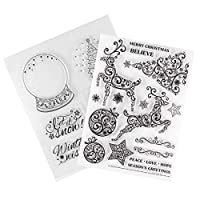 ‏‪EXCEART 2pcs Christmas Clear Stamp TPR Silicone Transparent Deer Xmas Tree Seal Stamps for DIY Scrapbooking Card Making Album Decoration‬‏
