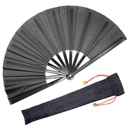 OMyTea Chinesische Kung Fu Tai Chi Große Hand Falten Fan für Männer/Frauen-mit Einer Stoff-Schutzhülle für Schutz-Für/Tanz/Fighting/Geschenk, Textil, Schwarz