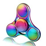 4-6 Mins Fidget Spinner EDC Hand Fidget Toy, Multicolor Titanium Rainbow Electroplating Alloy Stress Reducer High Speed R180 Stainless Steel Bearing Finger Tri-Spinner Relief Toys for Focus, Killing Time, Kids and Adults, Best for Birthday