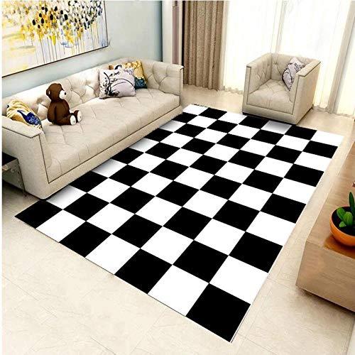 Schwarz Und Weiß Karierten Wohnzimmer Sofa Couchtisch Schlafzimmer Nacht Drucken Teppich Bodenmatte Fußmatten Bad Matten Werbematte (Kristall Kaschmir), 120 * 160Cm