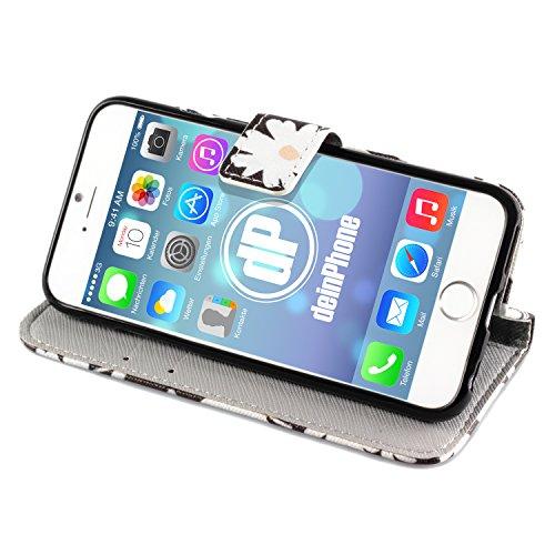 deinphone Apple iPhone 6Plus (5.5) Coque bumper Case Weiße Blumen Schwarz