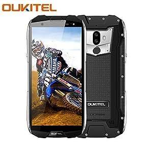 Telephone Portable Debloqué,OUKITEL WP5000 Smartphone 4G IP68 Etanche Dual SIM, 6Go RAM+64Go ROM, 5.7 Pouces 18:9, Helio P25 Octa Core 2.5GHz, 16/5MP 8MP, 5200mAh, Android 7.1/Type-C/OTG/GPS - Noir