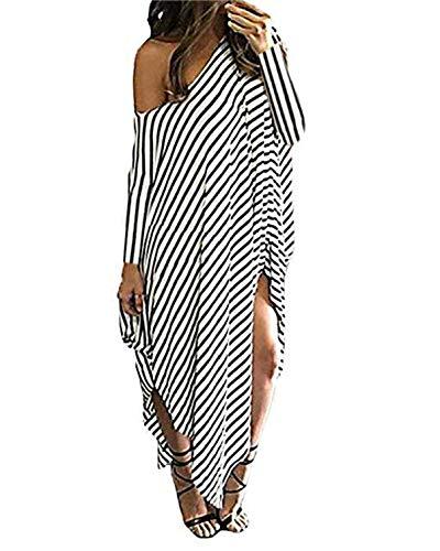 Kidsform Damen EIN Schulter Kleid Sommer Strandkleid Langes Streifen Maxikleid Streifen EU 48/Etikettgröße 2XL