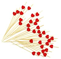PuTwo Handmade Cocktail Picks 100 Counts Cocktail Sticks Heart Frilled Toothpicks Party...