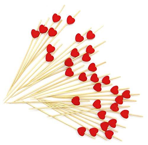 Putwo stuzzicadenti cocktail stuzzicadenti festa 100 conta legno wooden - cuore rosso