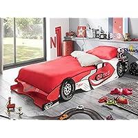 Preisvergleich für habeig Kinderbett RED RACER 190x90cm 200x90cm Jugendbett Autobett rot Bett F1 Rennauto