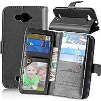 FUBAODA Funda de piel para Alcatel One Touch Pop C7, [Cable Libre][Marco de la foto][Bolso] función de soporte móvil, cierre magnético, ranuras para tarjeta de crédito para Alcatel One Touch Pop C7 (7041D 7040D) (negro)