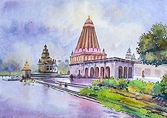Ganpati Temple (Watercolor Painting by Seema Ghiya)