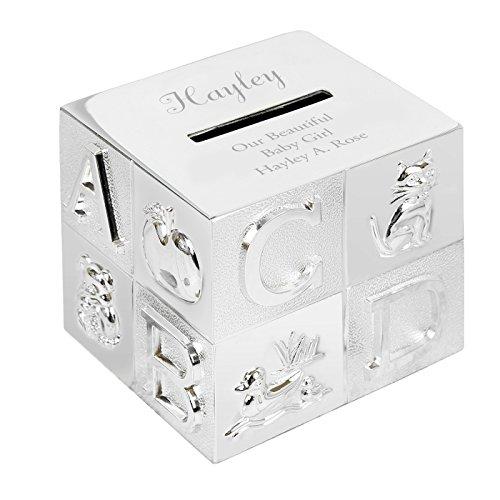 Hucha personalizada grabada ABC bañada plata - ideal