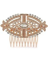 Novia/Boda/baile/Fiesta Art Deco estilo tono de oro rosa cristal austríaco peine–85mm W