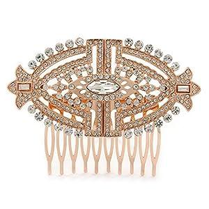 Avalaya Haarkamm für Hochzeit, Abschlussball, Party, Art-Deco-Stil, Rotgold, österreichische Kristalle, 85 mm breit