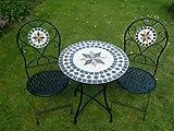 UK-Gardens - Tavolo da giardino, 2 sedie pieghevoli, mosaico, in metallo, diametro 60 cm