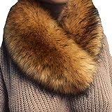 Fenverk Frau Schal Mode Kunstpelz Nachahmung Gras Schals Leopard Drucken Zum Damen TüCher Wraps Im Geschenke Ihr Mama Warm(Kaffee)