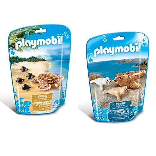 Playmobil 9071 - Wasserschildkröte mit Babys &  9069 - Robbe mit Babys