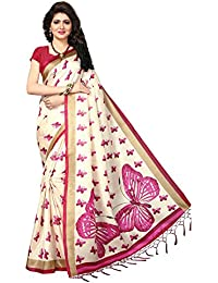 Ishin Poly Silk Beige Printed Women's Saree/Sari With Tassels