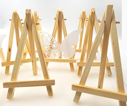JZK® 10 x Mini kleine Holz Tafel Display Staffelei Foto Memo Halter Platzkartenhalter Name Tabelle Karte Stand für Hochzeit Geburtstag Taufe Babyparty Party & Bar (10 x, 15 x 8 cm) Bar Tafel