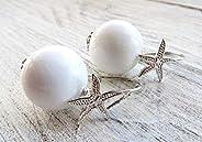 Orecchini con giada bianca e stelle marine, pendenti in argento 925, orecchini tondi, bijoux creati a mano, gi