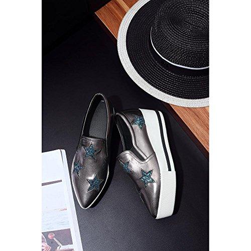 Suola Spessa Piattaforma Donna WSXY-A0925 Tacco Zeppa Stile Creativo,KJJDE Gray