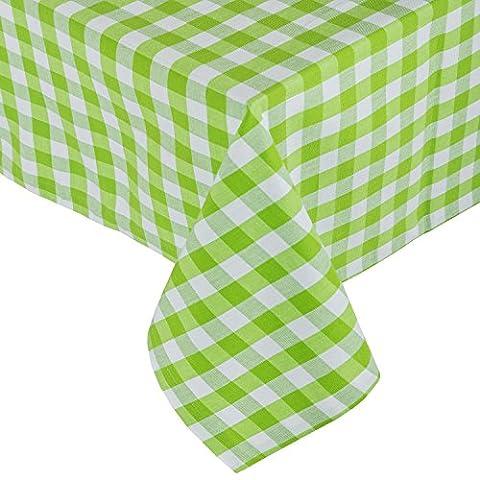 Homescapes Tischdecke kariert Block Check grün weiß 140 x 180