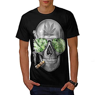 Skeleton Smoke Weed Cool Skull Men NEW Black White Grey Red Royal Blue S-5XL T-shirt | Wellcoda